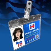 Political Novelty Trump Clinton Halloween Costume Name Badge ID Cards