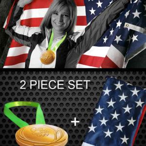 Rio Olympics Gold Medal and USA Flag