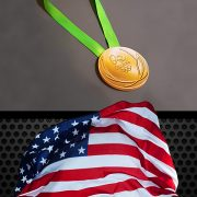 Rio Olympics Gold Medal and USA Flag