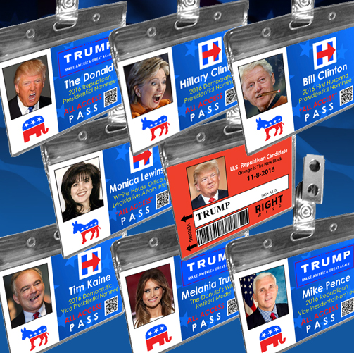 Political Novelty Trump Clinton Halloween Costume Name Badge ID Cards