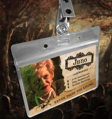 Beetlejuice Juno the Caseworker Name Badge ID Card